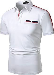 STTLZMC メンズ コットン 半袖 カラーバー ポロシャツ カジュアル ゴルフウェ スポーツ シャツ