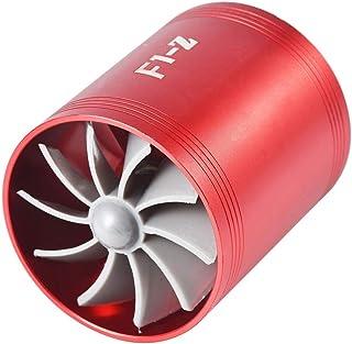 Turbocompresor Doble Turbina Gas Admisión Aire Ahorro Combustible Ventilador Sobrealimentador para Automóvil 4 Colores Opcional Azul Rojo Plata Negro (Red)