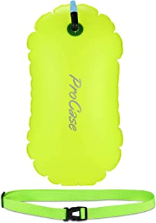 ProCase Boya de Natación para Aguas Abiertas, Flotadora de Color Llamativo para Nadar, con Cinturón Ajustable para Nadador, Triatleta y Entrenamiento de Natación Segura -Amarillo Fluorescente