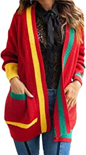 Womens Casual Color Block Patchwork Long Sleeve Open Front Knitted Loose Sweater Cardigan Coats
