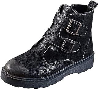 HebeTop Boots for Women,Women's Leather Boot Metal Buckle Low Heels Ankle Studded Booties