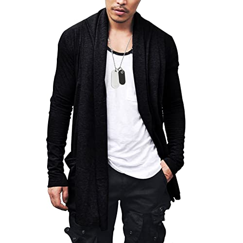 9e67ee21b80f FlowerDas Mens Long Cardigan Cotton Blend Casual Knitwear Ruffle Shawl  Collar Lightweight Drape Cape