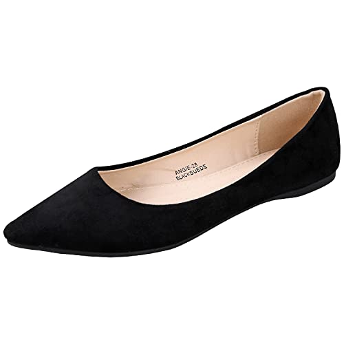 1383cbb284b43 Bella Marie BellaMarie Angie-28 Women s Classic Pointy Toe Ballet Flat Shoes