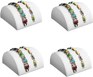 888 Display - 4 Piece Set White Faux Leather Half Moon Bracelet Showcase Display Stand 3