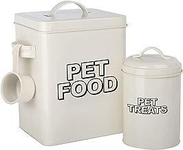 simpa - Juego de 2 recipientes de Almacenamiento para Comida de Mascotas, Estilo Retro, Color Crema, Metal Vintage