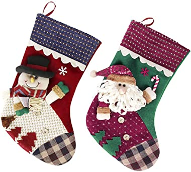 Tingxx Bag Ornament Christmas Eve Child Gift Bag Santa Snowman Socks 2 Piece_Set_