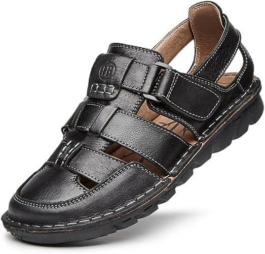 ZHANGRONG- Chaussures de plage de sandales d'unité centrale des hommes pour des hommes avec des sandales de Velcro ( Couleur   Noir , taille   EU41 UK7.5-8 CN42 )