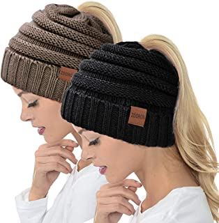 Ponytail Beanie Hat for Women, High Messy Warm Stretch Cable Knit Winter Ponytail Beanie Skull Cap
