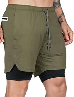 AJAYR Men 2 in 1 Workout Shorts Built-in Quick-Dry Liner,with Towel Loop for Training,Jogger, Running,Crossfit,Weight Lifting.