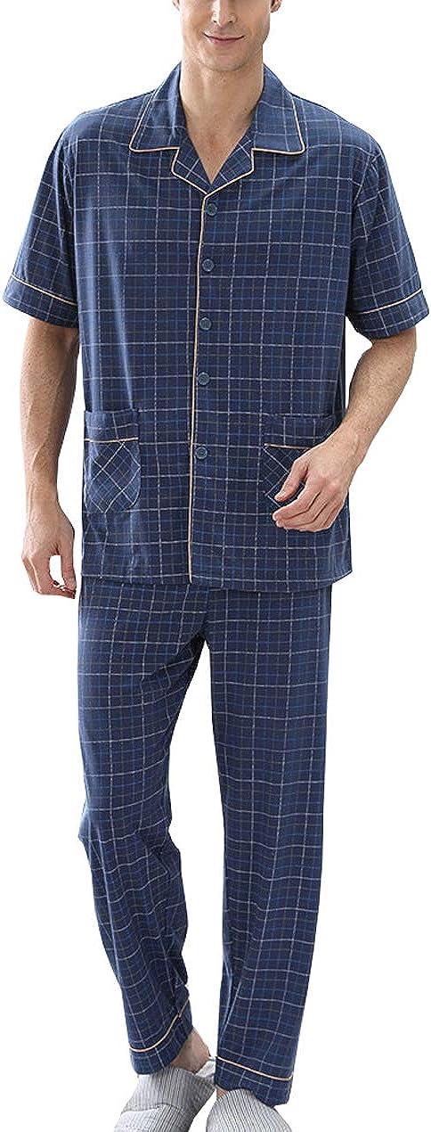 Only Faith Men's Short Sleeve Bamboo Viscose Pajama Sleepwear Set