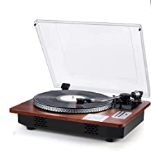 Record Player Vinyl Turntable with Built-in Stereo Speakers Wireless in & Out USB Direct Vinyl to MP3 Recording Professional LP Phonograph Automatic Vintage Solid Record Player with Retro Wood Design