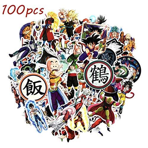 SGOT Anime Aufkleber One Piece Stickers Wasserdicht Vinyl Naruto Stickers Decals für Auto Motorräder Gepäck Skateboard Laptop Aufkleber(100 Stück Dragonball)