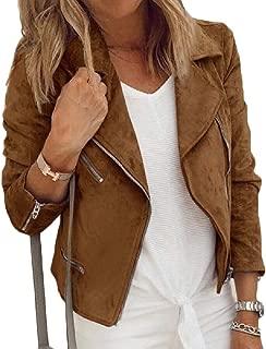 Womens Slim Fit Rider Jackets Retro Lapel Zipper Bike Jacket Oblique Zip Crop Bomber Jacket Coats