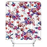 Y·JIANG - Juego de cortinas de ducha con flores tropicales, diseño abstracto, hermoso, floral, poliéster, lavable, con 12 ganchos, no necesita forro para el baño, 183 x 183 cm