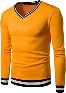 WUFAN Men's V Neck Stripes Long Sleeve Stitching Pullover Top Sweatshirt