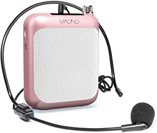 Voice Amplifier MAONO AU-C01 Lightweight Cardioid Rechargeable Wired Microphone with Waistband and LED Display, Support FM/MP3/TF Card for Coaches, Tour Guides, Kindergartener, Meeting(Gold)