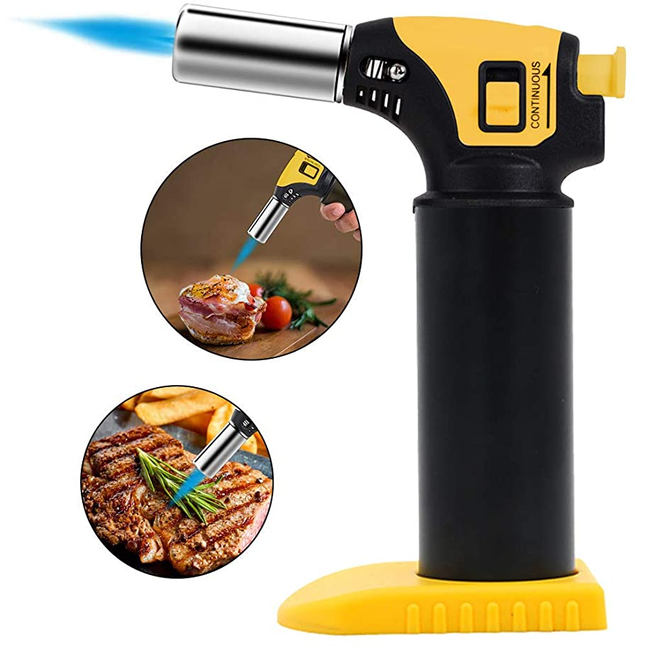 Butane Torch,WOHOME Blow Kitchen Torch Chef Cooking Culinary Torch Lighter with Safety Lock, Adjustable Flame Lighter Best for Baking, BBQ, Creme Brulee,Camping(Butane Gas Not Include)