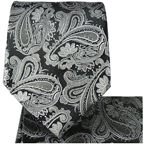 Cravate homme noir gris motif cachemire ensemble de cravate 3 Pièces (longueur 165cm)