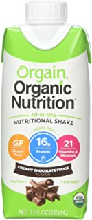 Orgain Organic Nutrition Shake, Creamy Chocolate Fudge, Gluten Free, Kosher, Non-Gmo, 11 Ounce, 12 Count, Packaging May Vary