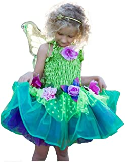 Fairy Blooms Deluxe Dress Costume with Wings in Green - Small