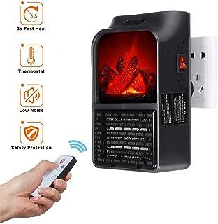 Goglor Mini Portátil Handy Heater, 900W Flame Heater Fan Estufa Eléctrica Calefactor de Pared Portátil con Digital Termostato Ajustable para Oficina/Casa/Garaje/Camper - Enchufe UE