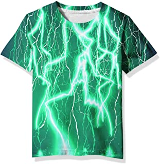 Linnhoy Kid Shirts 3D Graphic Printed Tees for Boys and Girls 6-16 Years