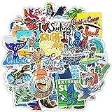 ZJJHX Summer Surfing Beach Travel Sticker DIY Graffiti para Tabla de Surf, computadora portátil, Equipaje, Bicicleta, Tableta, Botella de Agua 50 Piezas
