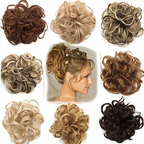 Hair Extension Clip Capelli Veri Chignon Updo Bun Ponytail Scrunchie Parrucchino Capelli Ricci Mossi Posticci Castano chiaro a biondo cenere
