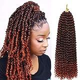 7Packs Passion Twist Hair, 18 inch Passion Twist Braiding Hair Water Wave Hair for Passion Twist Crochet Braids Rust Red Crochet Hair Extensions (7pcs #1B/350)