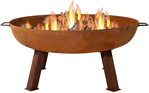 new arrival Sunnydaze Cast Iron Outdoor Fire Pit Bowl - 34 Inch lowest Large Round Bonfire Wood Burning Patio & Backyard Firepit for Outside with Portable Fireplace discount Metal Handles, Rustic sale