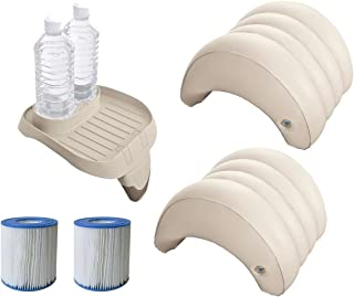 Juego de accesorios de 5 piezas para piscinas de hidromasaje Intex PureSpa (2 filtro S1 29001- 1 bandeja 28500- 2 reposacabezas 28501)