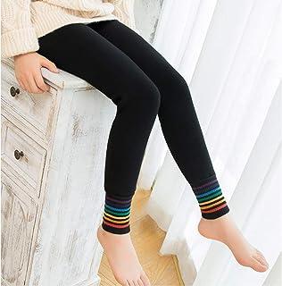 MAZS Pantalones Gruesos y cálidos de Inviernopara niñas de 2 a 12 años Leggings para niños Pantalones de arcoíris de al...