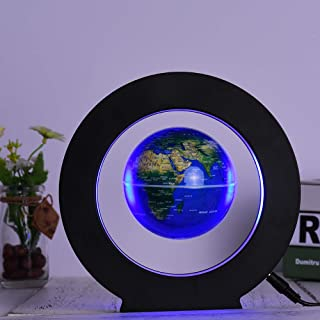 Decdeal 3.5 Inch Magnetic Levitation Floating Globe World Map Tellurion Anti Gravity with LED Light Round Shape Base for H...