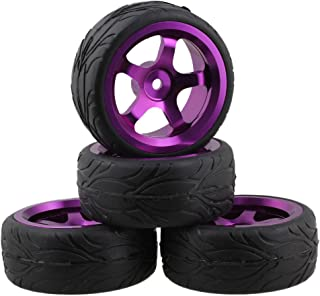 Mxfans Black Fish Scale Pattern Rubber Tyre Purple Alloy Wheel Rims 5 Spoke RC 1:10 On-Road Racing Car Pack of 4