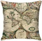 BONRI Mapa del Siglo XVII Funda de Almohada Cuadrada Sofá para el hogar Decorativo Ultra Suave Cómodo , (17'x 17' / 43x43cm