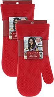 "Rachael Ray Gourmet Silicone Kitchen Oven Mitt/Glove with Quilted Cotton Liner Insulated Pocket, Heat Resistant up to 500 Degrees, Made with Non-Slip, Textured Design, 14"" long, Cherry Red 2pk"