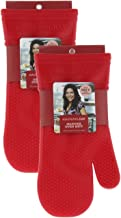 Rachael Ray Silicone Oven Mitts, 2pk -Heat Resistant Silicone Oven Gloves to Safely Handle Hot Cookware Items-Flexible, Waterproof Silicone Gloves with Non-Slip Grip and Insulated Pockets - Cherry Red