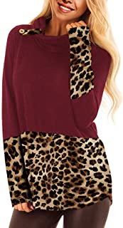 LENXH Women's Leopard Stitching Pullover Long-Sleeved Hooded Sweater Loose Casual Shirt Fashion Elegant Blouse