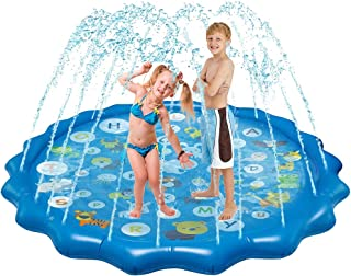 "Sprinkler for Kids Splash Pad Play Mat 68"" Inflatable Sprinkler Fun Summer Outdoor Water Toys Baby Wading and Learning Swimming Pool for Boys Girls Toddlers"