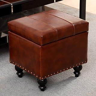 WEWE Cube en Faux Cuir Rangement Ottoman Repose-Pieds Pouf Banc Siège,boîte De Jouet avec Hinge Top Organisateur Boîte Pou...