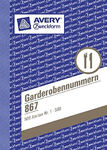 AVERY Zweckform 867 Garderobenummers (A6, 100 vellen/blok) op kleur gesorteerd