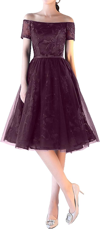 DressyMe Women's Vogue Wedding Party Dresses KneeLength Off Shoulder Ball Dress