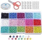SIMEIXI 15 Colori di Perle di Vetro da 3 mm, Mini Perle di Vetro, Perline di Accessori per Gioielli, Perline Colorate per Braccialetti, collane e Gioielli (Circa 7.500 Pezzi)