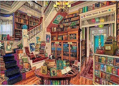 MGE 1000 Stück Erwachsene Puzzles, Puzzle-Sets, klassisches Puzzle Brennen Gehirn Puzzle aus Holz Puzzle Gehirn Joggen Werkzeug handgemachte Dekoration, Fantasie Buchhandlung (Size : 500pcs)