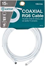 Antop 15ft RG6 Coaxial Cable, Digital TV Antenna Cable Extension, Suitable for Antenna, Cable Modems, Satellite TV Receivers