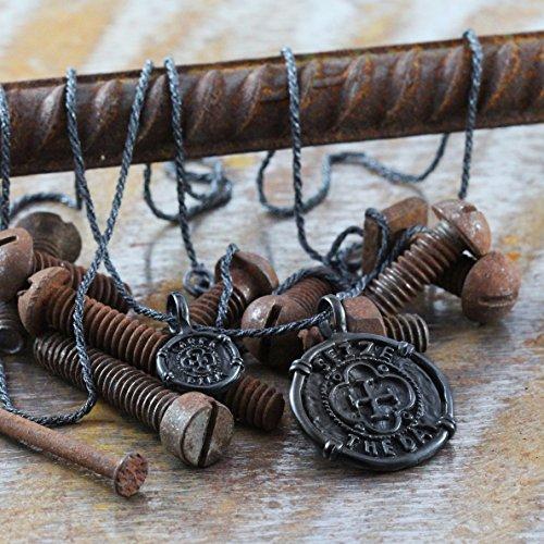 Men Carpe Diem Black Silver Coin Necklace