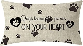 NIDITW Nice Animal Dog Lover Gift with Funny Words Dog Leave Paw Prints On Your Heart Waist Lumbar Throw Pillow case Cushion Cover Pillowcase for Sofa Home Decorative Rectangle 12
