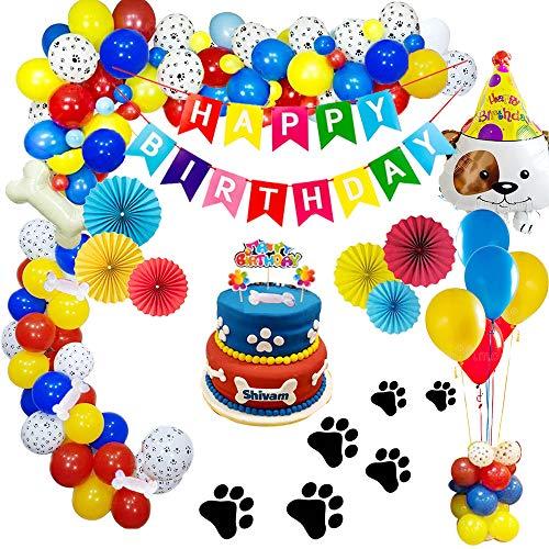 Decoración de fiesta de cumpleaños,Paquete de decoraciones de cumpleaños con pancarta de feliz cumpleaños Abanicos de papel colgantes Adornos de pastel Huesos Globo de cachorro para Fiesta de niños