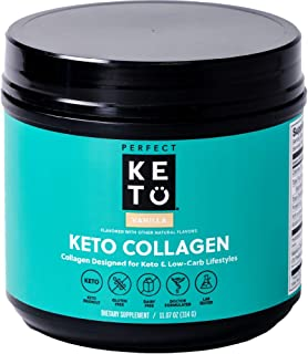 Perfect Keto Collagen Powder with MCT Oil - Grassfed, GF, Multi Supplement, Best for Ketogenic Diets, Use i...