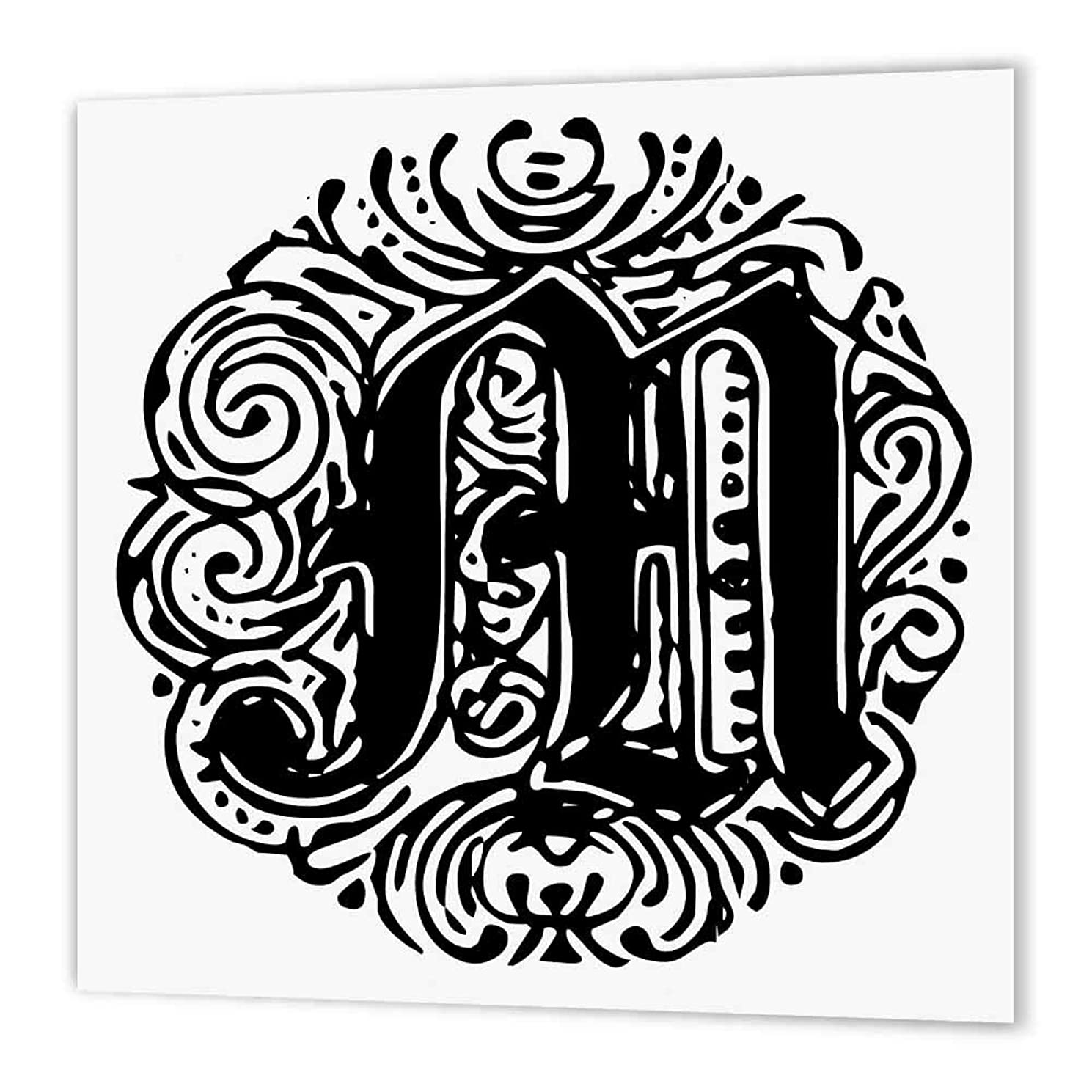 3dRose ht_14221_2 Fancy Letter M Iron on Heat Transfer Paper for White Material, 6 by 6
